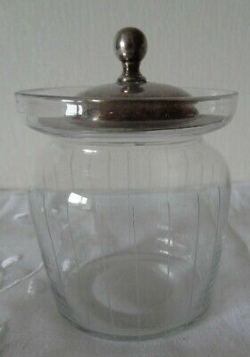 Vintage/Antique  Glass Preserve/Jam/Mustard Pot- Epns Silver Lid