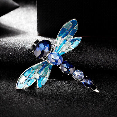 Luxury Blue Crystal Enamel Dragonfly Brooches Silver Plated Brooch Pin Lady Gift
