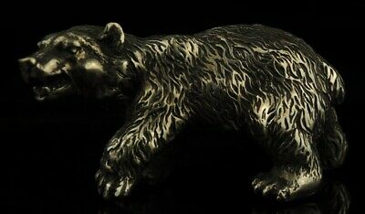 Chinese Tibet old Copper Plating Silver Casting  bear Collect Statue e01