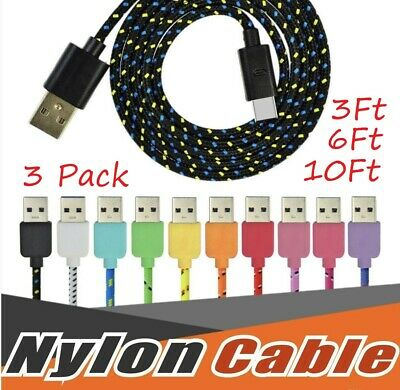 USBC TYPE C USB-C Charging Sync & Charger Cable Cord Samsung S8 1x 3ft 6ft 10ft