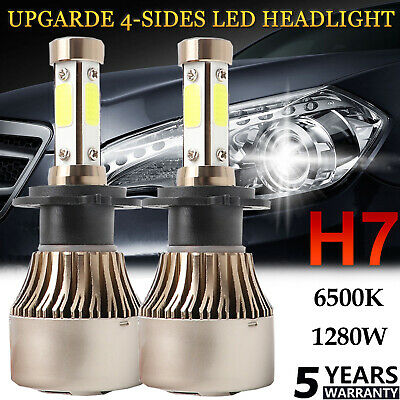 H4 9003 1280W 192000LM LED Headlight Kit Conversion Globes Bulb Hi-Lo Beam 6500K