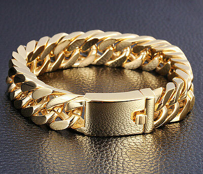 18K Gold Plated Mens Jewelry 316L Stainless Steel Curb Cuban Chain Bracelet 8.5""
