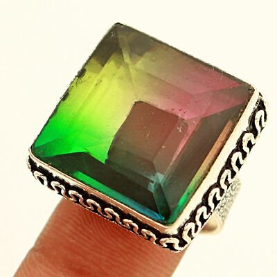 Faceted Multi Tourmaline Gemstone .925 Sterling Silver Jewelry Ring Size 8.5