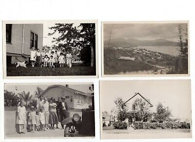 Lot of 4 Antique Photos of Families/Homes/Cars/Birds Eye View