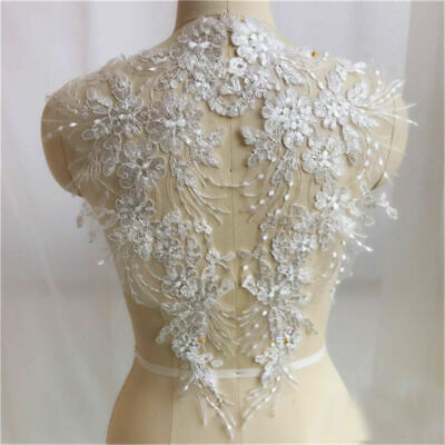 1Pair DIY Lace Applique Trim Embroidery Sewing Wedding Bridal Dress Patch Crafts