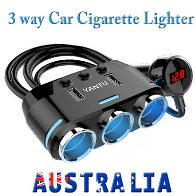 3Way USB Charger Power Adapter Car Cigarette Lighter Socket Splitter Dual 12/24V