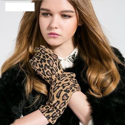 Women Gloves Casual Driving Leopard Print Genuine Leather Goatskin Wrist Mittens