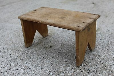 Antique Small Wooden Seat Stool Bench or Plant Stand Display #465