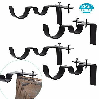 2 Pairs Curtain Rod Brackets Set Double Curtain Rod Holders Easy No Drilling