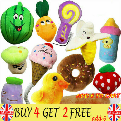 12X Pet Dog Soft Chew Toy Puppy Doggy Plush Sound Eggplant Carrot Squeaker ToyRE
