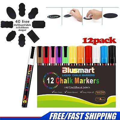 12pack Chalk Marker Colorful Erasable Glass Window Pens + 40 Chalkboard Labels
