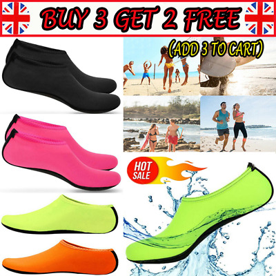 Unisex Kids Slip on Water Shoes Beach Swim Diving Wetsuit Surf Solid Aqua Socks