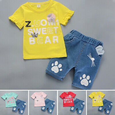 Toddler Kids Baby Girls Summer Outfits Clothes T-shirt & Short Pants 2PCS Set