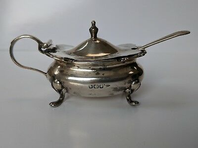 Antique Hallmarked Silver Mustard Pot Circ.1899 Walker & Hall & Spoon Circ.1921