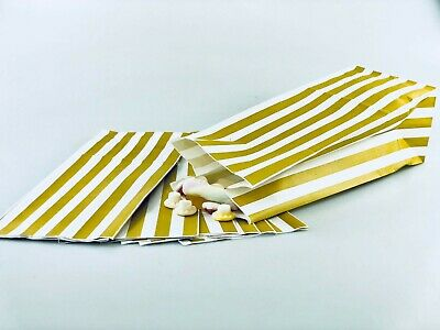 Big white gold paper party gift sweets buffet candy stripe bag