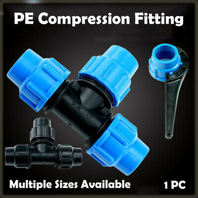 MDPE Plastic Compression Reducing Tee Irrigation Water Pipe Multi-Sizes UK