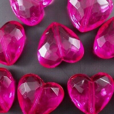 10 LARGE BLUE ACRYLIC FACETED HEART BEADS 28mm TOP QUALITY ACR15B