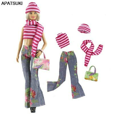 Fashion Doll Clothes Set For Barbie Doll Top Denim Jeans Handbag Outfits 1/6 Toy
