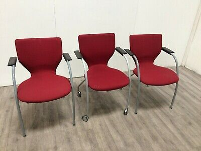 Job Lot 3 Red Arm Chairs Office Conference Reception Banquet Waiting
