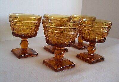 Vintage Amber Indiana Glass Colony Park Lane Footed Dessert Glasses Set Of 5