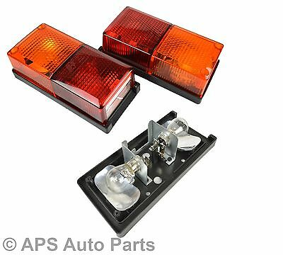 Pair of Rear Rectangular 4 Function Tail Lights Lamp Trailer Lorry Van Oblong