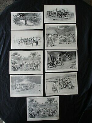 1899 Spanish American War Prints - Maceo's Soldiers Attacking Spanish in Cuba  B