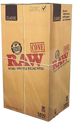 RAW Pre Rolled Cones CLASSIC Unrefined Rolling Papers KING SIZE (1400 PER BOX)