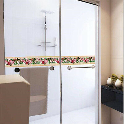 Self-adhesive Bathroom Kitchen Green Floral Wall Tile Stair Border Sticker W