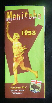 1958 Manitoba official  province road map highway Canada  Golden Boy pictorial