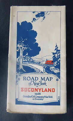 1926 New York road map Socony  oil  gas Standard of NY pre federal highway signs