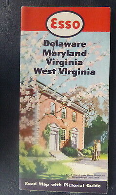 1950 Delaware Maryland Virgina West road map Esso oil gas Pohick Church