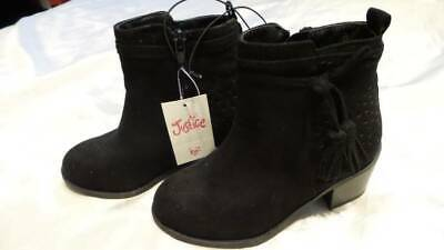 NWT ~ JUSTICE Black suede ankle boots Zipper Fringe accent Rubber soles Girls 12