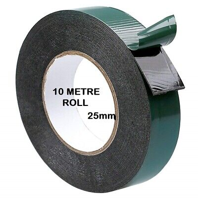 Double Sided Foam Tape 25mm x 10M Black Super Strong Permanent Self Adhesive
