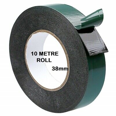 Double Sided Foam Tape 38mm x 10M Black Super Strong Permanent Self Adhesive