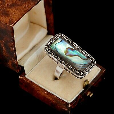 Antique Vintage Deco Style Sterling Silver Marcasite Abalone HUGE Ring Sz 8.5