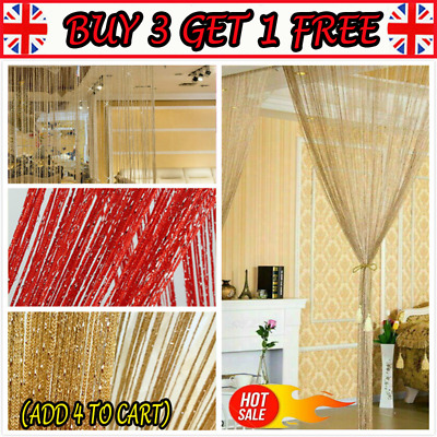Glitter Door String Curtain Panels Fly Screen Room Divider Voile Net Curtains PP