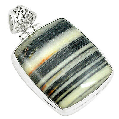 28.30cts Natural White Zebra Jasper 925 Sterling Silver Pendant Jewelry M88605