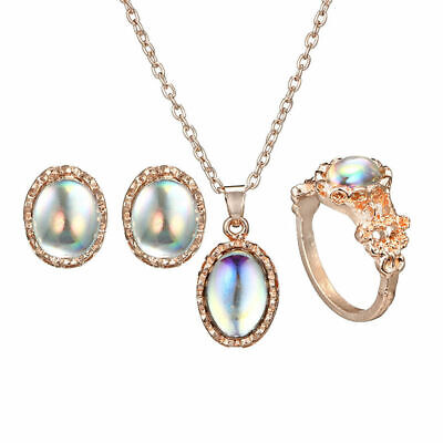 Fashion  Ring+Earrings+Necklace Moonstone Jewelry Set Chain Gifts Woman Jewelry
