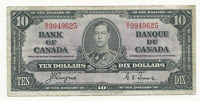 1937 Bank Of Canada 10 Dollar Bank Note