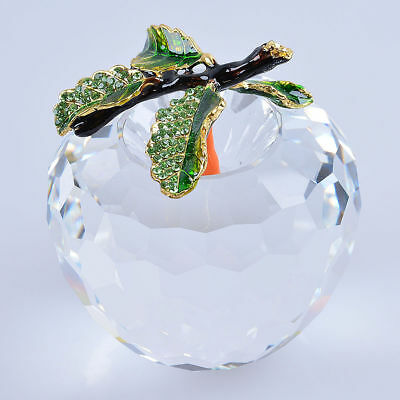 """LONGWIN 80mm 3.15"""" W Clear Cut Crystal Apple Paperweight Wedding Christmas Gift"""