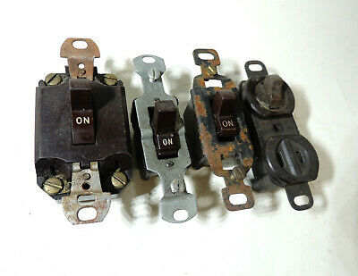 Lot of 4 Different Antique vtg EARLY Bakelite Electrical Wall SWITCH Rocker