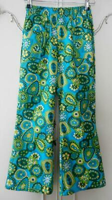 """BN Vintage Late 1960's Kids' Unisex Turquoise Flared Trousers 28"""" Hip Deadstock"""