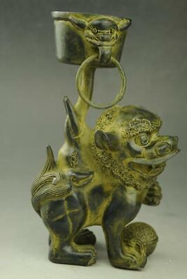 chinese  old feng shui  copper  hand engraving lion lampstand Statue f02