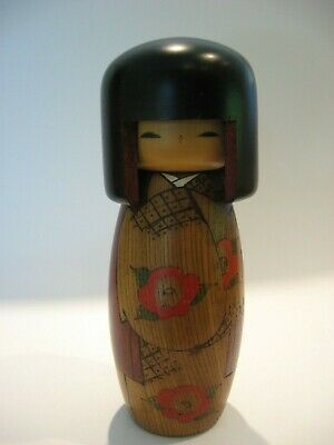 Vintage Kokeshi Wood Doll w/ Stickers Japanese Folk Art Hand Made Antique Japan
