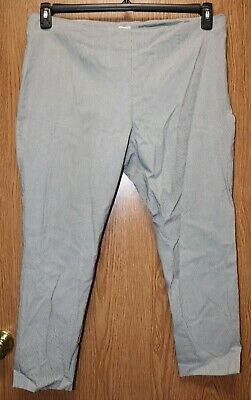 Womens Gray White Striped A New Day Flat Front Capri Pants Size 18 very good
