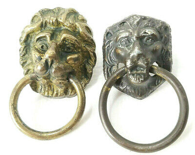 Vintage Lion Head Drawer Ring Pull Handle Chest Brass Gold Tone Dark Patina Vgc