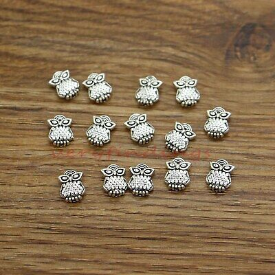 50 Small Mini Flamingo Bird Metal Beads Spacer Antique Silver 9x12 1mm hole 760