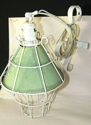 Vintage Porch-Patio Garden Wall Sconce Lamp-Light Wrought Iron & Cage Fixture