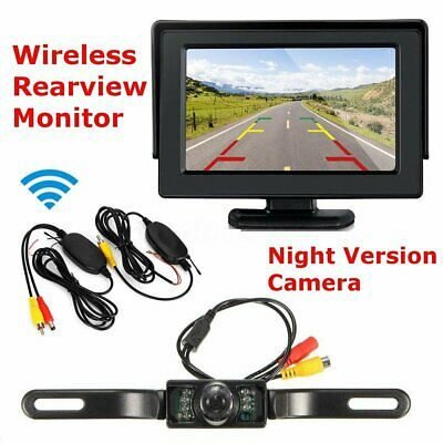 4'' TFT LCD Monitor Wireless Car Rear View System Reverse Backup Camera Cam ^
