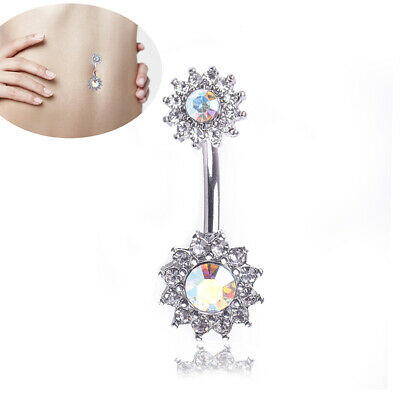 Flower Dangle Navel Belly Button Ring Barbell Crystal Piercing Body Jewelry BI